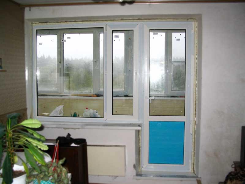 Балконный блок до монтажа откосов и после до