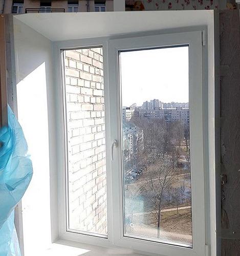 Балконный блок и окно с откосами после