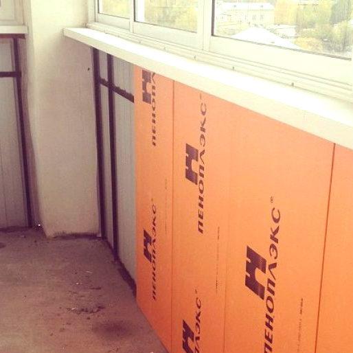 Утепление балкона пеноплексом (3 см)
