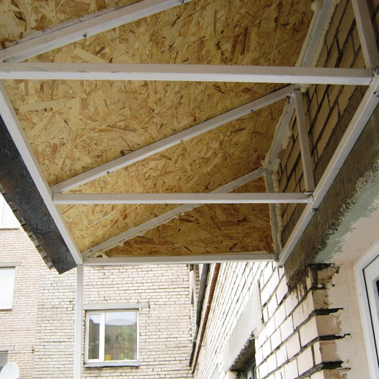 Остекление крыши балкона, монтаж крыши